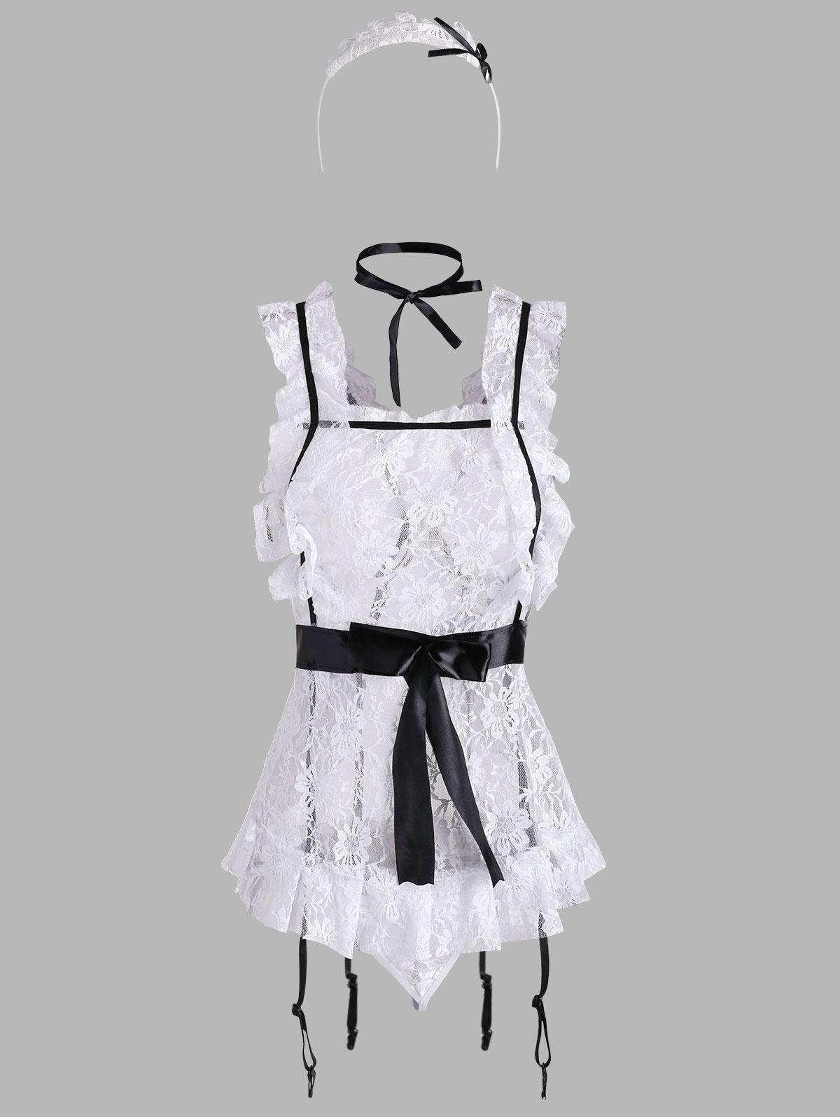 Ruffle Lace Gartered Maid Lingerie Costume
