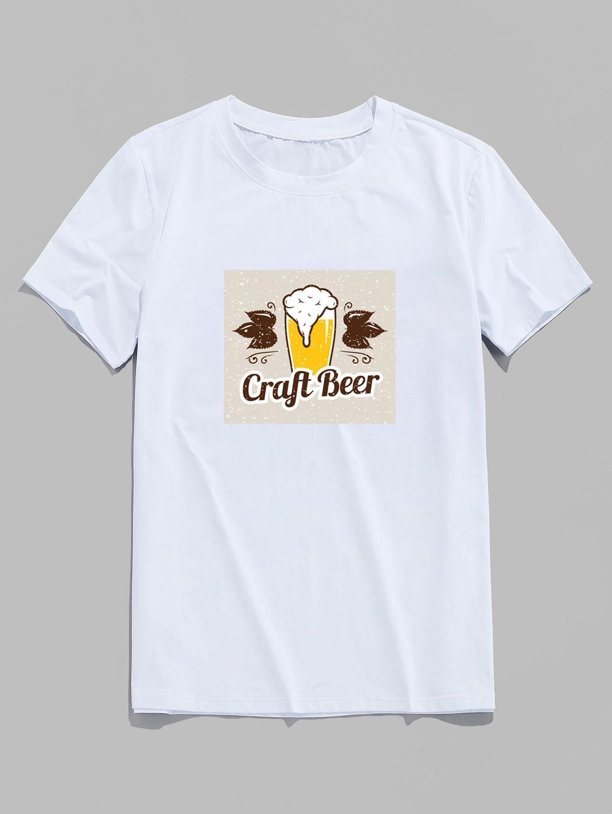 Craft Beer Graphic Short Sleeve Basic T-shirt