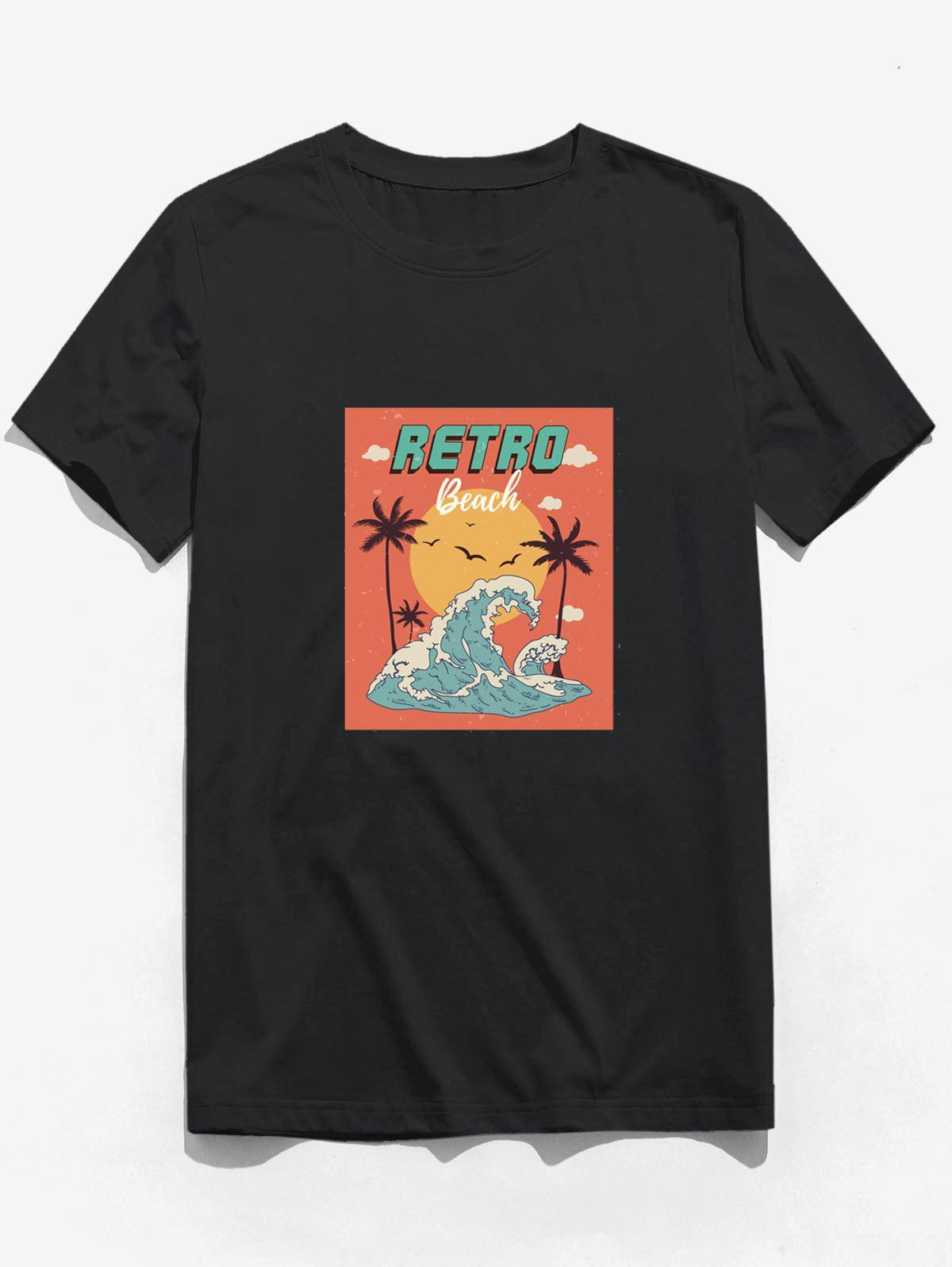 Retro Beach Waves Sun Palm Tree Print Basic T-shirt
