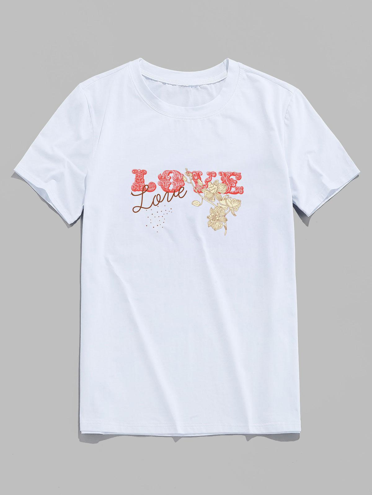 Basic Love Flower Print Short Sleeve T-shirt