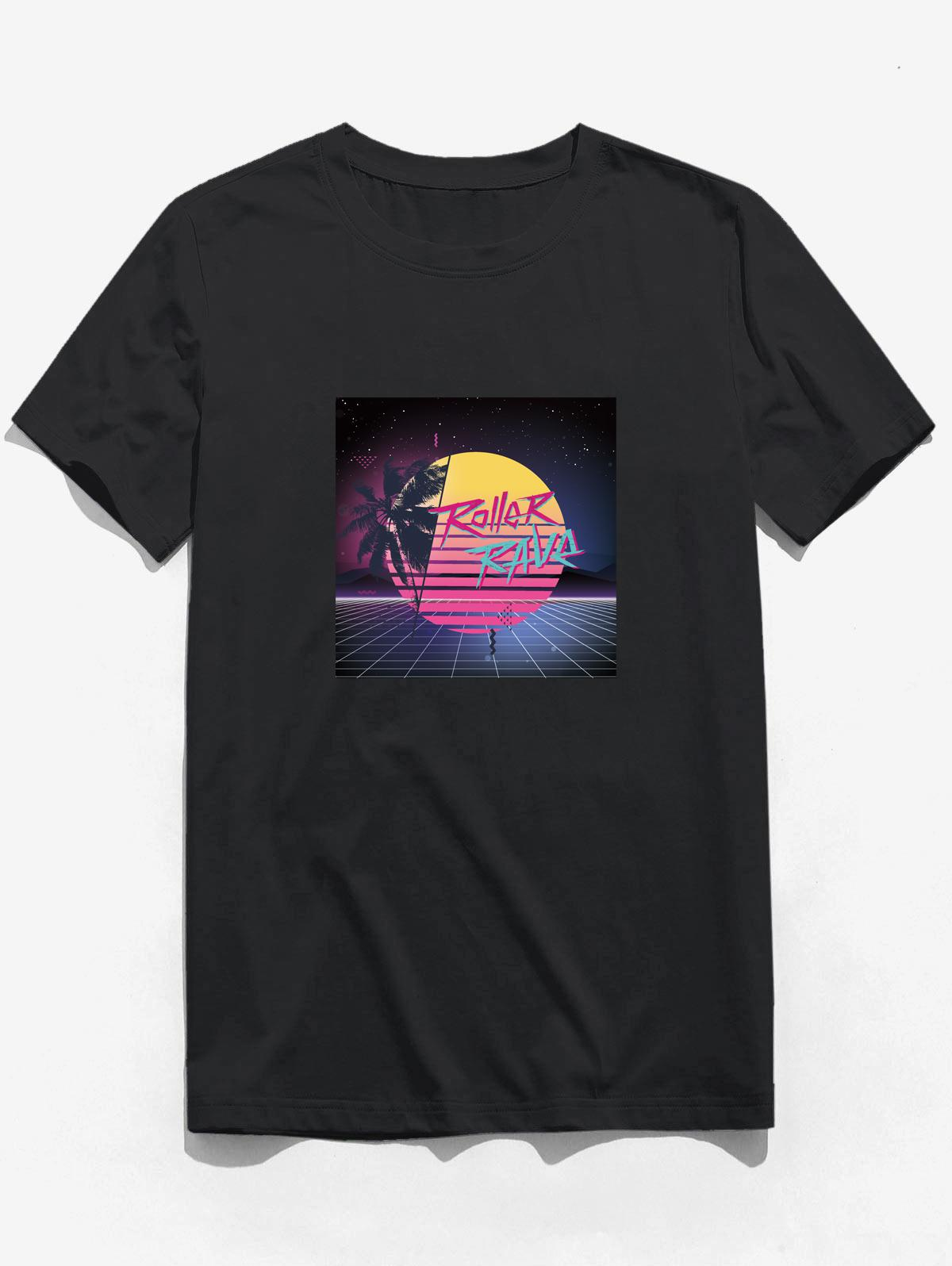 Moon Night Palm Tree Graphic Print Basic T-shirt