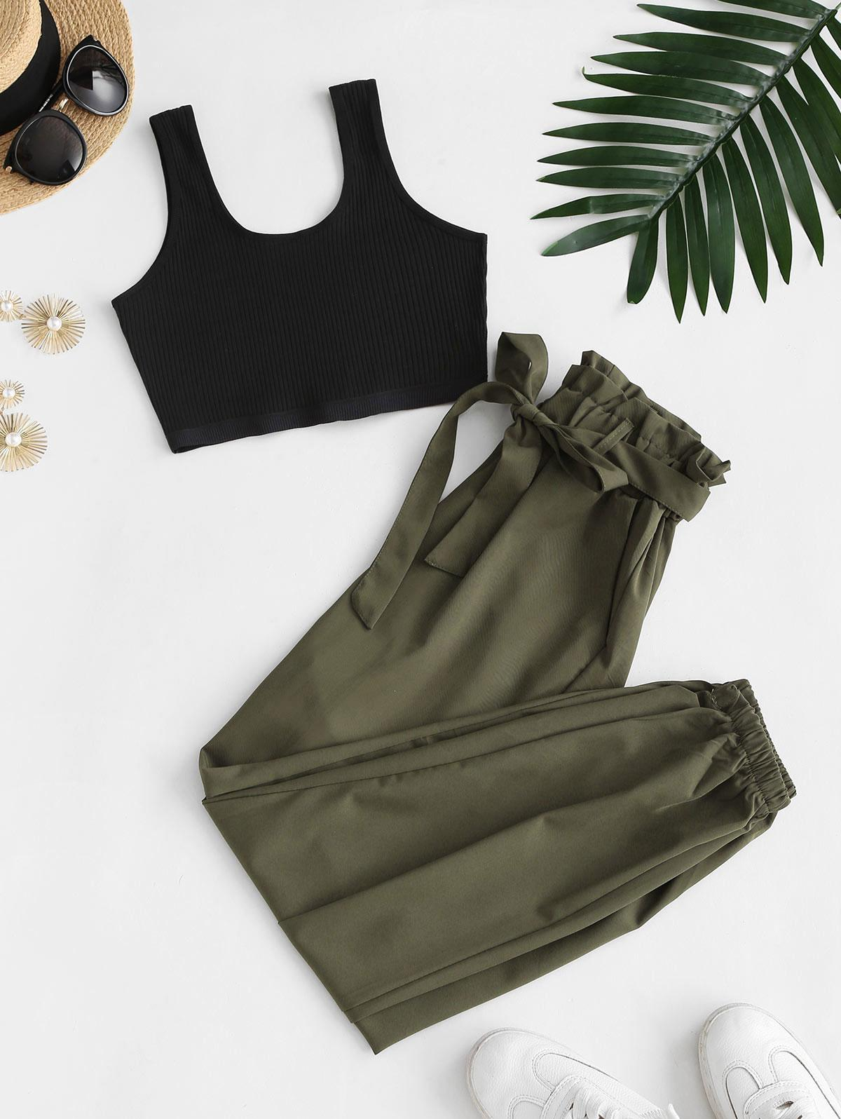 Ribbed Cropped Belted Paperbag Pants Set