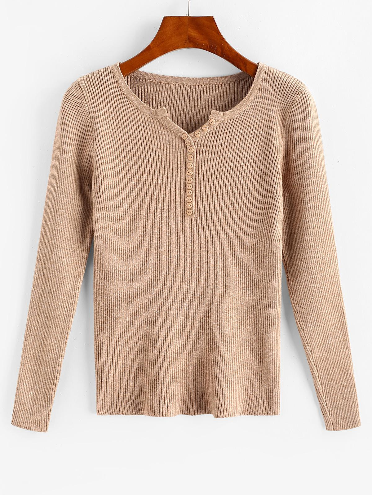 Button Front V-notched Ribbed Knitwear