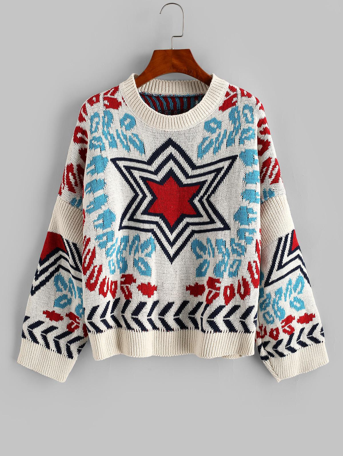 Loose Star Graphic Crew Neck Sweater