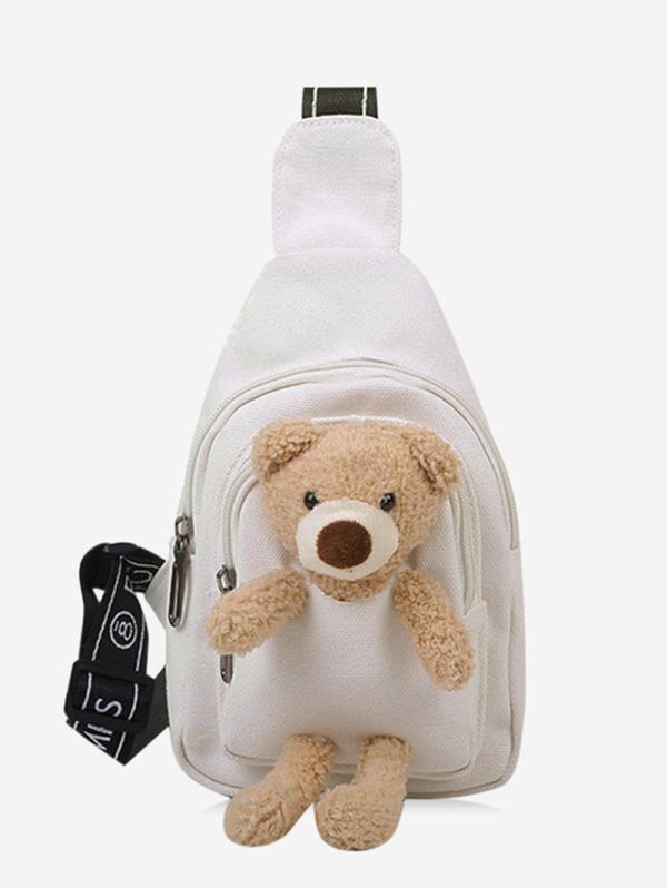 Cute Bear Canvas Chest Bag