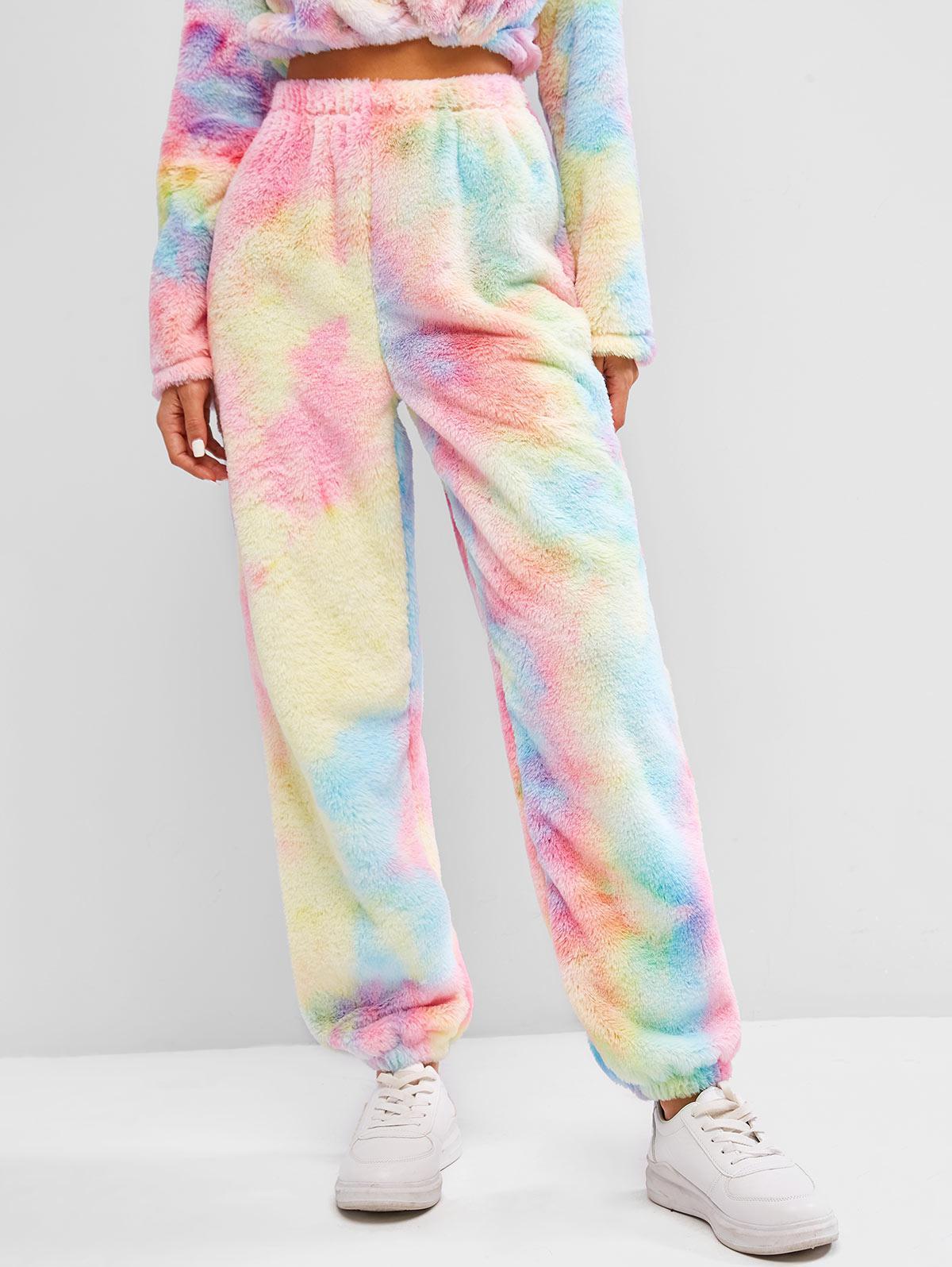 Tie Dye Fuzzy Beam Feet High Rise Pants