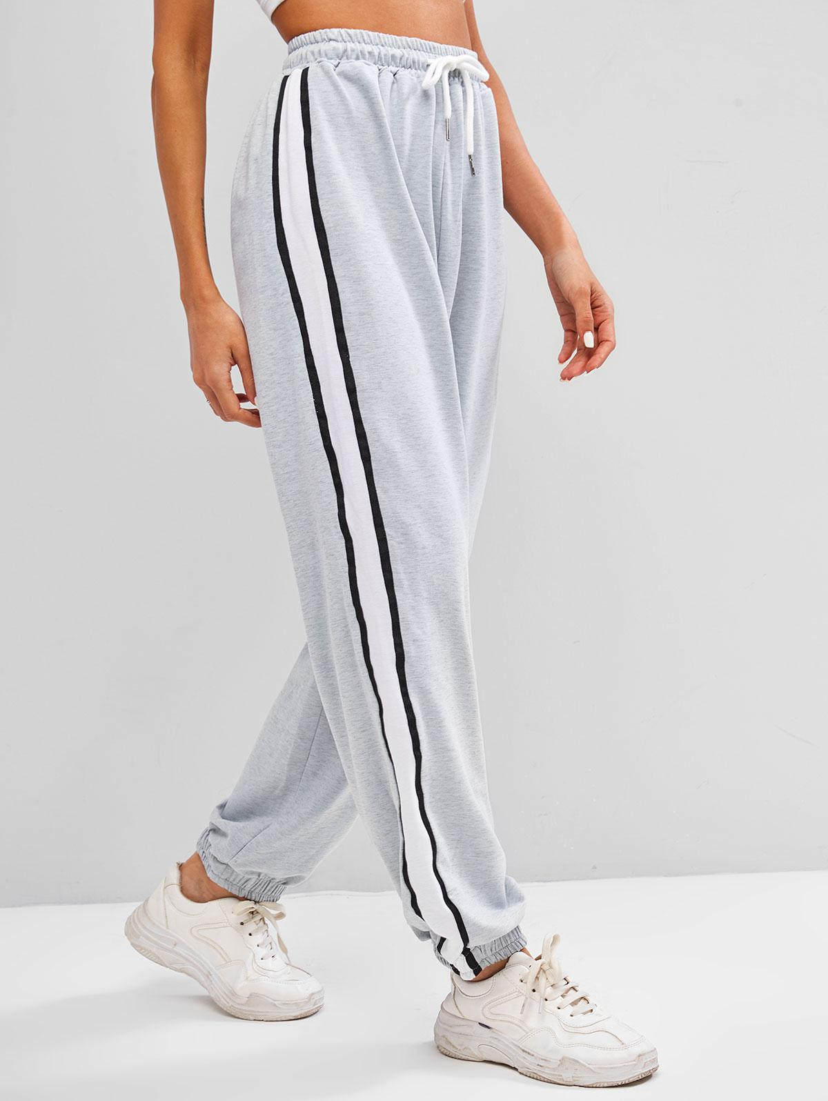 Striped Tape Colorblock Drawstring Sweatpants
