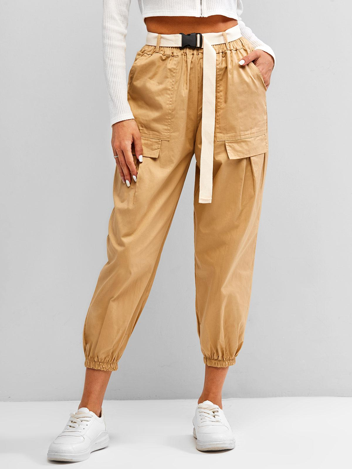 Snap-buckle Belted Flap Detail Cargo Pants