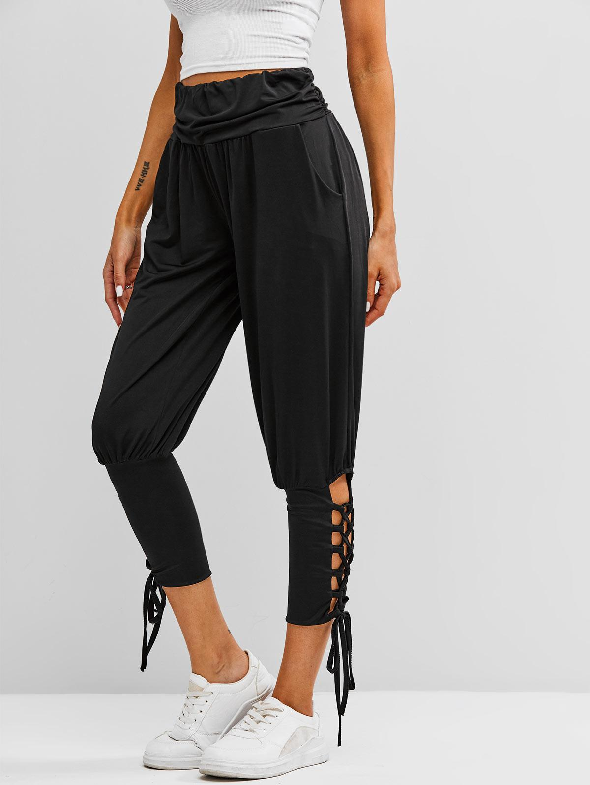Ruched Waist Lace Up Yoga Sports Pants