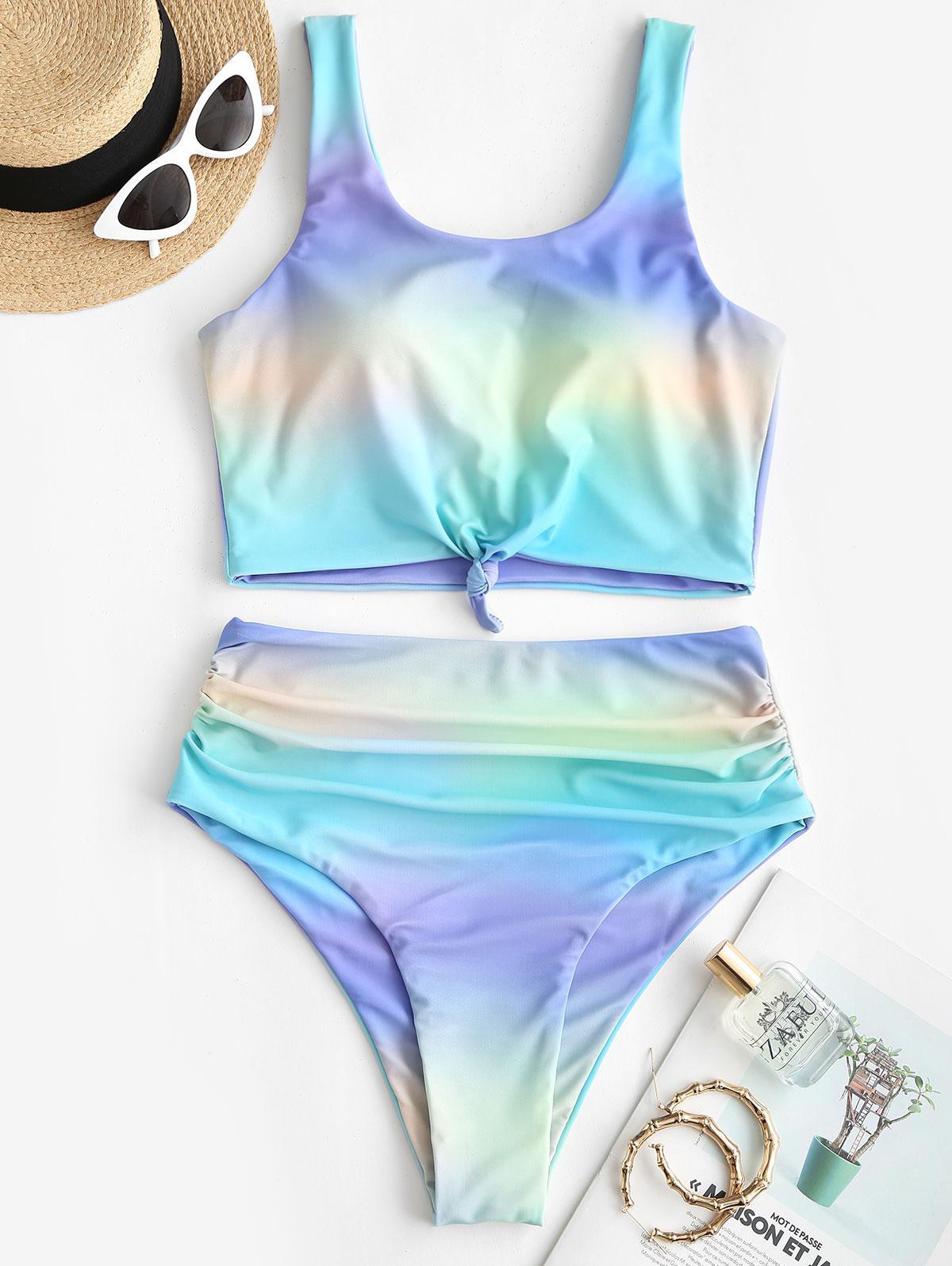 ZAFUL Knot Ruched Rainbow Tie Dye Tankini Swimsuit