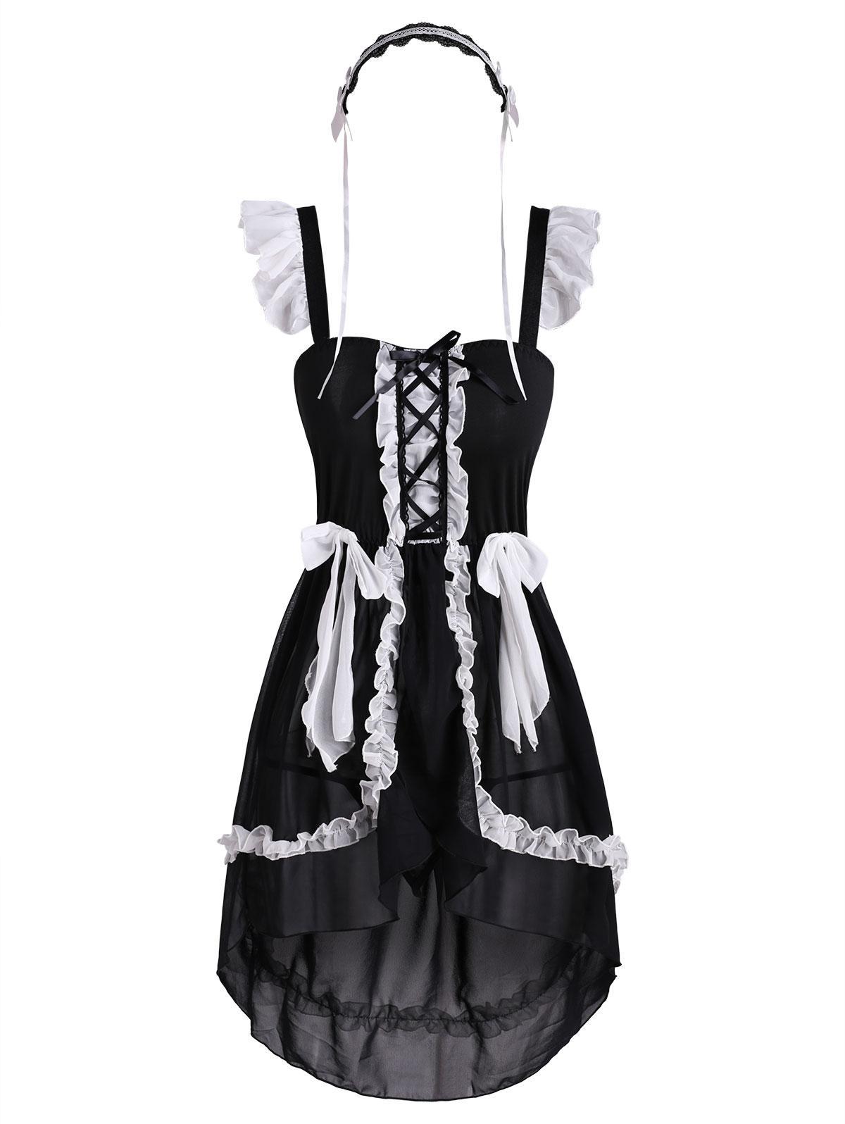 Ruffled Flyaway Bowknot Cosplay Maid Costume
