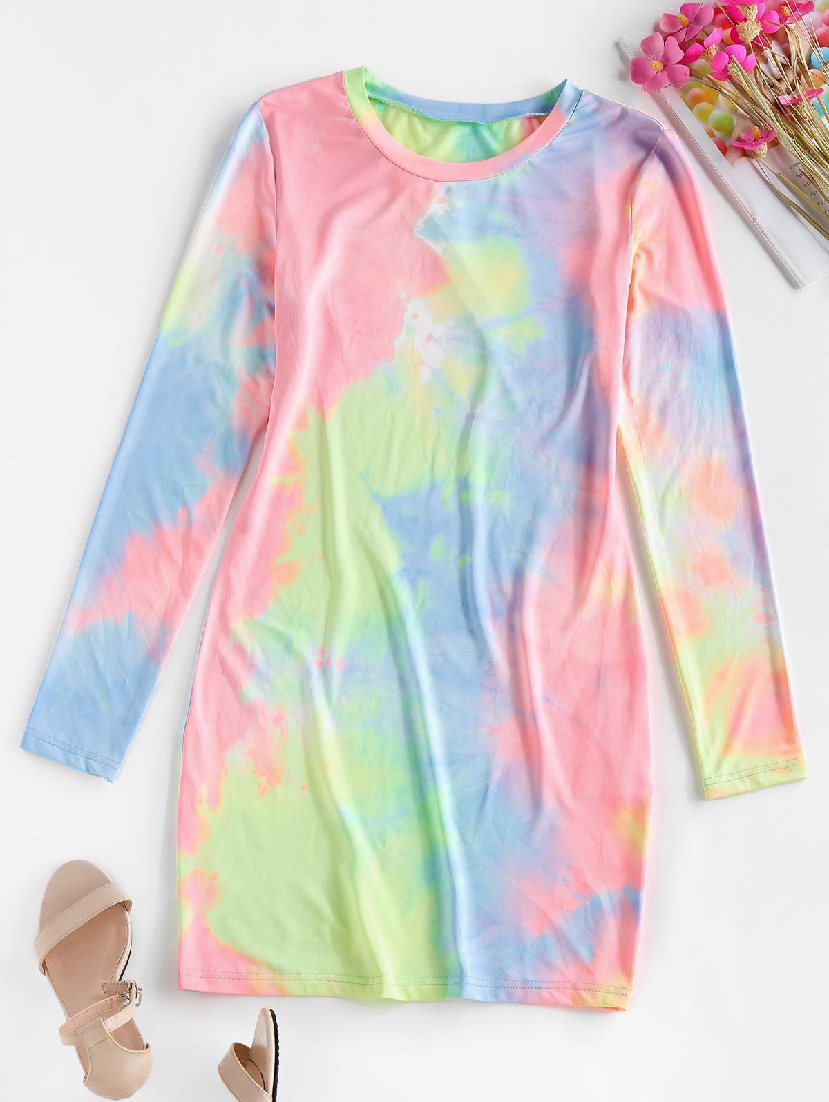 ZAFUL Tie Dye Long Sleeve Bodycon Dress