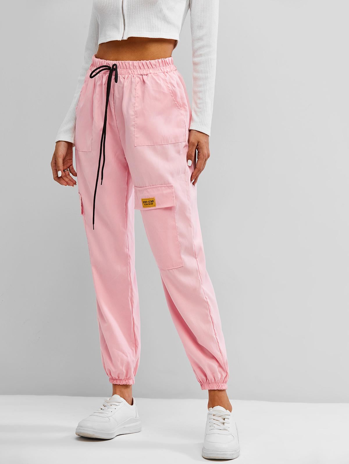 Letter Applique Bowknot Detail Cargo Pants
