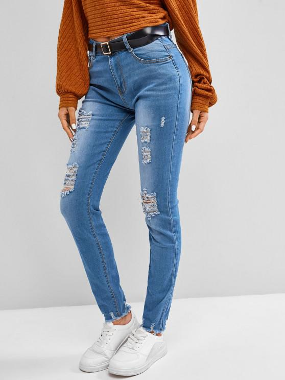 Frayed Distressed Mid Rise Skinny Jeans - ازرق رمادي S