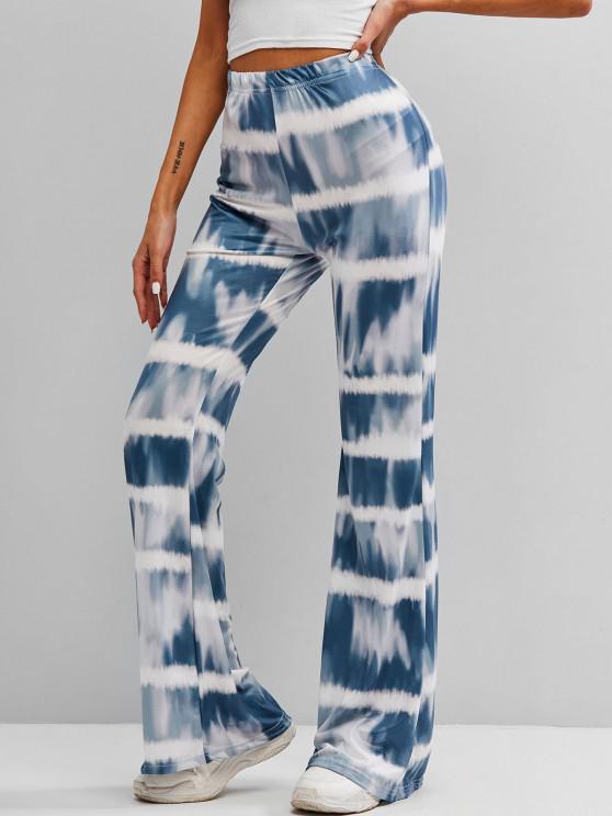 42 Off 2021 Pantalones Acampanados De Tie Dye Con Cintura Alta En Azul Oceano Zaful America Latina