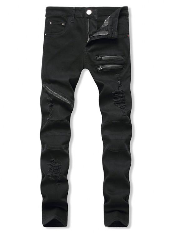 latest Distressed Zippers Ripped Long Jeans - BLACK 32