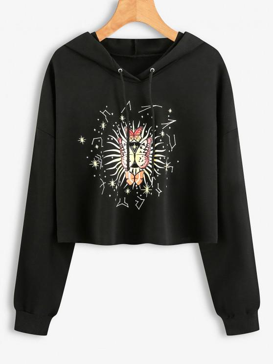Drawstring Butterfly Graphic Raw Cut Hoodie - أسود L