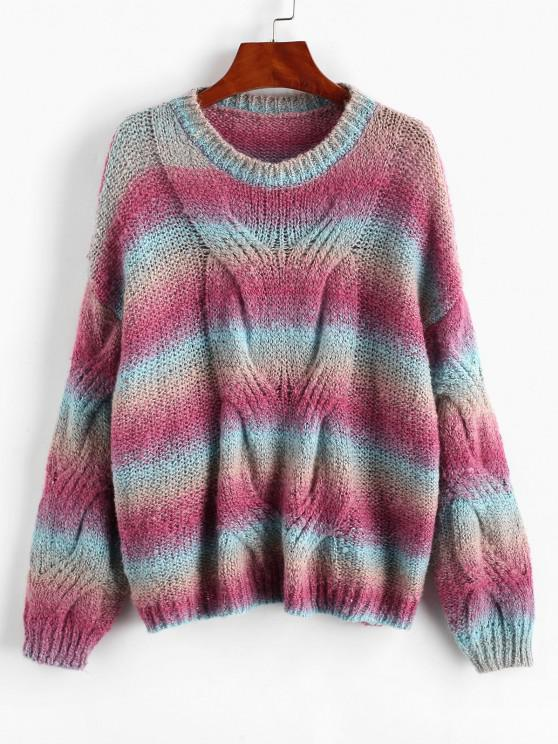 Loose Tie Dye Stripes Cable Knit Sweater - متعدد حجم واحد
