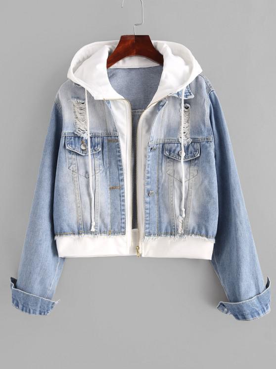 womens Hooded Ripped Combo Denim Jacket - LIGHT BLUE S