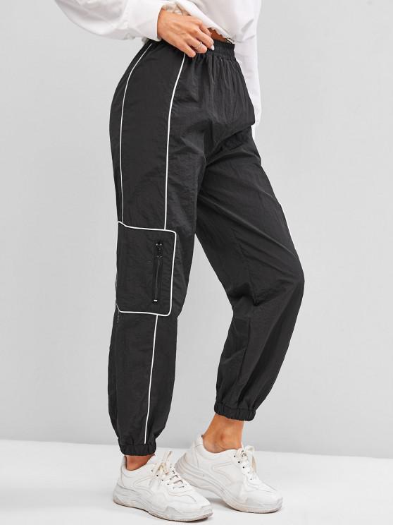 new High Waisted Zippered Pockets Cargo Pants - BLACK XL