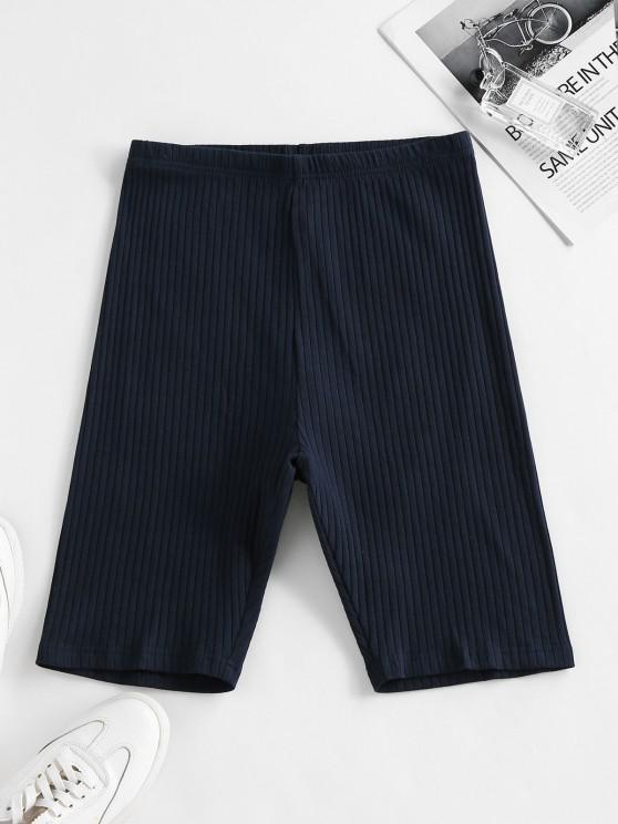 ladies ZAFUL Ribbed High Waisted Biker Shorts - DEEP BLUE M