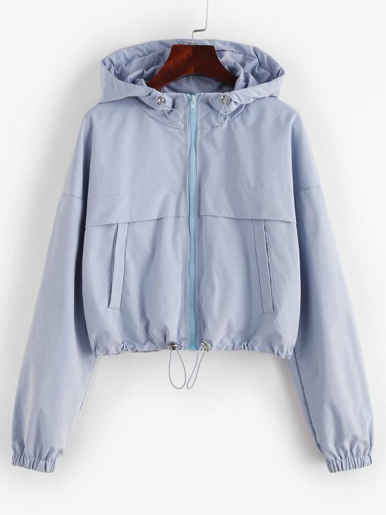 women ZAFUL Full Zip Toggle Drawstring Windbreaker Jacket - LIGHT BLUE M