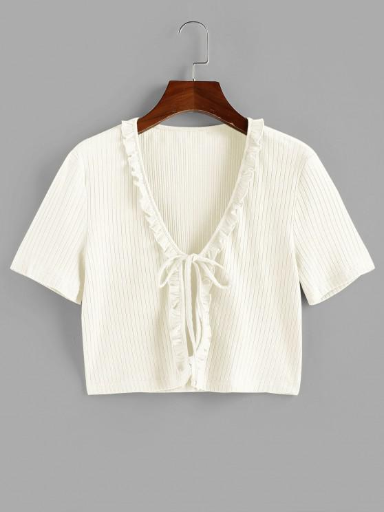 ZAFUL Ruffle Front Tie Ribbed Crop Tee - أبيض M