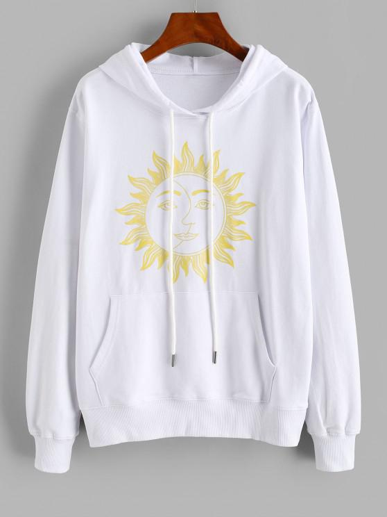 Drawstring Sun Graphic Kangaroo Pocket Hoodie - أبيض L
