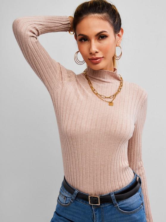 Ribbed Mock Neck Heathered Knitwear - قهوة حجم واحد