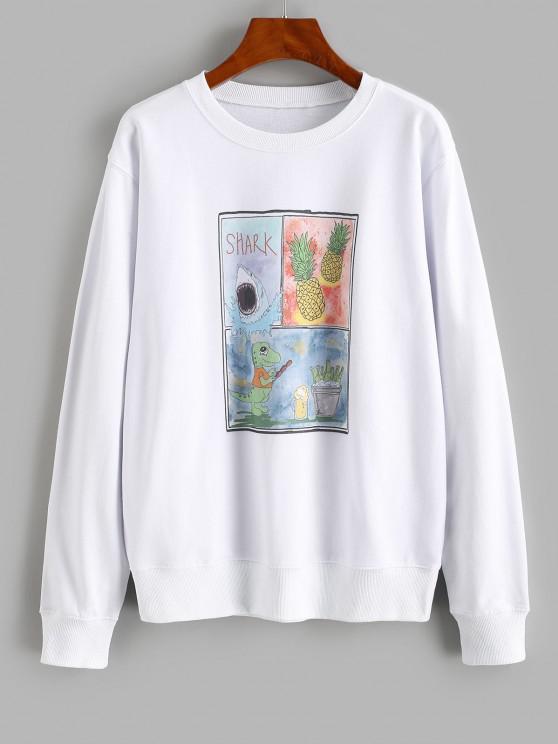 Pineapple Shark Dinosaur Print Loose Sweatshirt - أبيض M