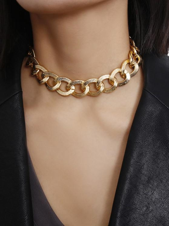 Punk Textured Chain Choker Necklace - ذهب