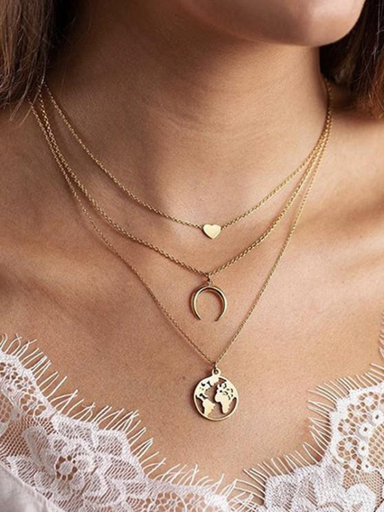 lady Heart Crescent Map Layered Necklace - GOLDEN