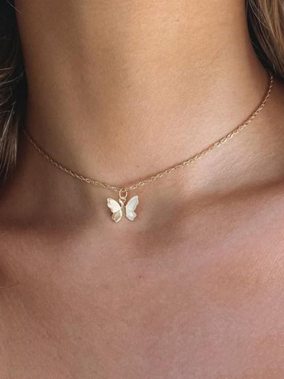 Chain Butterfly Pendant Choker Necklace - ذهبي