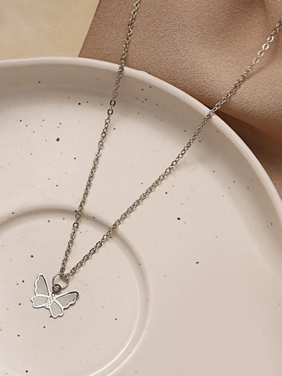 online Chain Butterfly Pendant Choker Necklace - SILVER