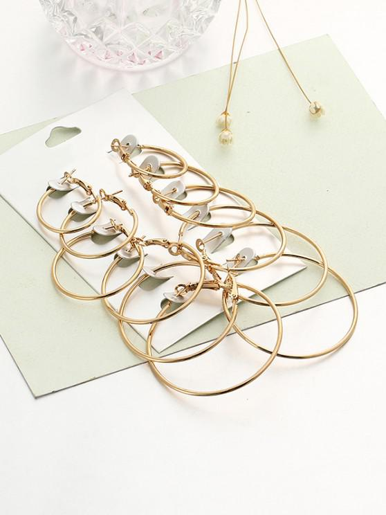 chic 6 Pairs Exaggerated Hoop Earrings Set - GOLDEN