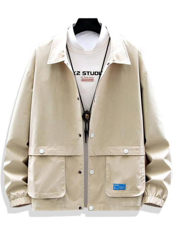 women's Solid Applique Pocket Patch Jacket - BEIGE XL