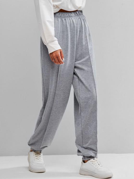 Seam Detail High Rise Pull On Jogger Pants - اللون الرمادي M