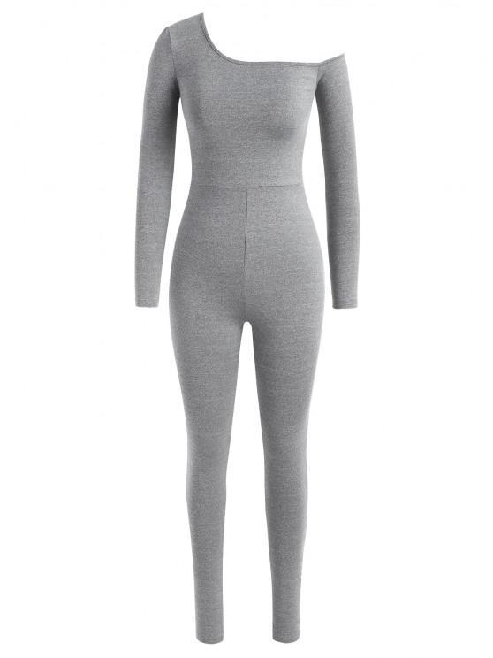 Marmorierte Gymnastikgamaschen mit Schiefem Halsausschnitt - Platin L