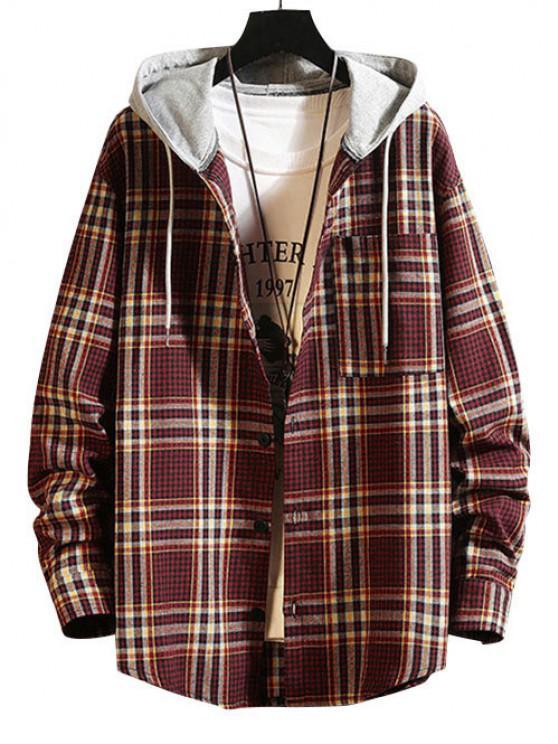 Hooded Plaid Print Pocket Shirt - نبيذ احمر XL