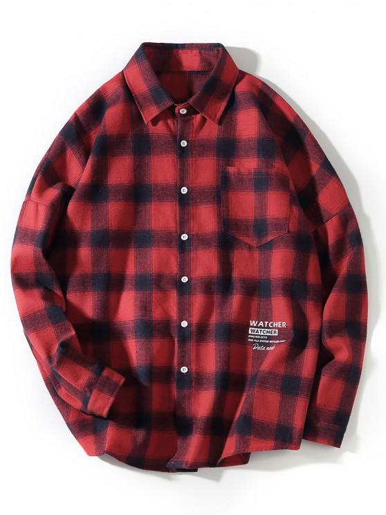 Plaid Collect Letter Print Pocket Long Sleeve Shirt - أحمر 2XL