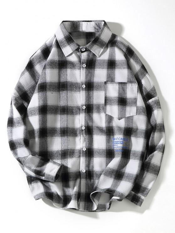 fashion Plaid Collect Letter Print Pocket Long Sleeve Shirt - WHITE 2XL
