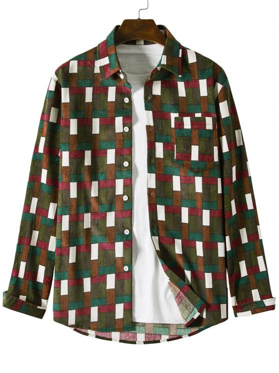 fancy Colorblock Grid Pattern Pocket Corduroy Shirt - BROWN 2XL