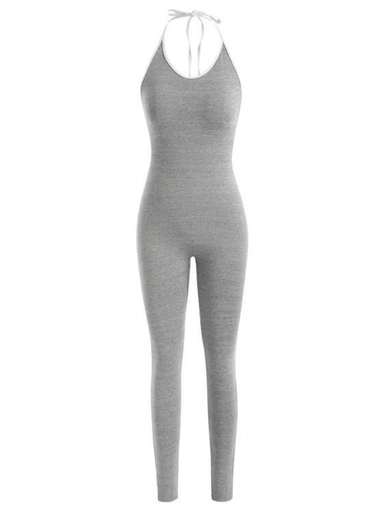 latest Contrast Binding Halter Backless Unitard Jumpsuit - LIGHT GRAY S