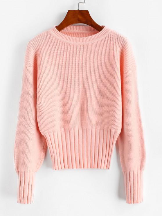 Einfacher Gerippter Trim Pullover mit Rundhalsausschnitt - Helles Rosa Eine Größe