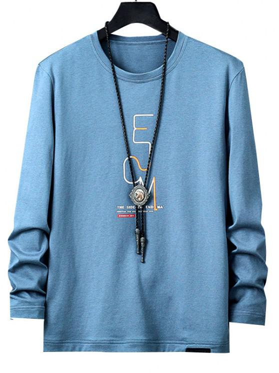buy Letters Print Long Sleeve Graphic T-shirt - BLUE XS