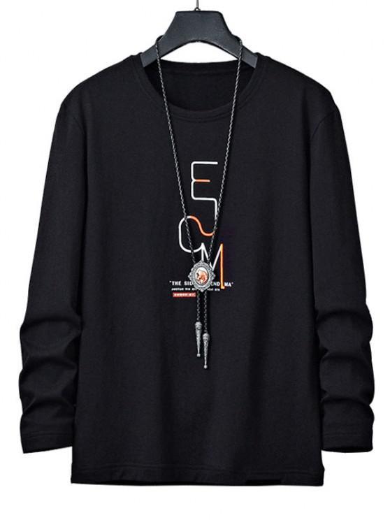 Langärmliges Grafisches T-Shirt mit Buchstabendruck - Schwarz XS