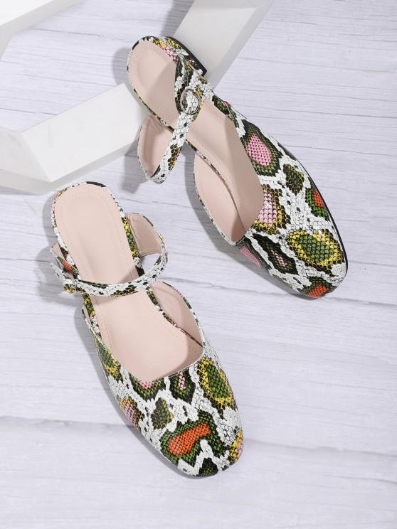 outfit Square Toe Snake Print Half Flat Shoes - MULTI-A EU 38