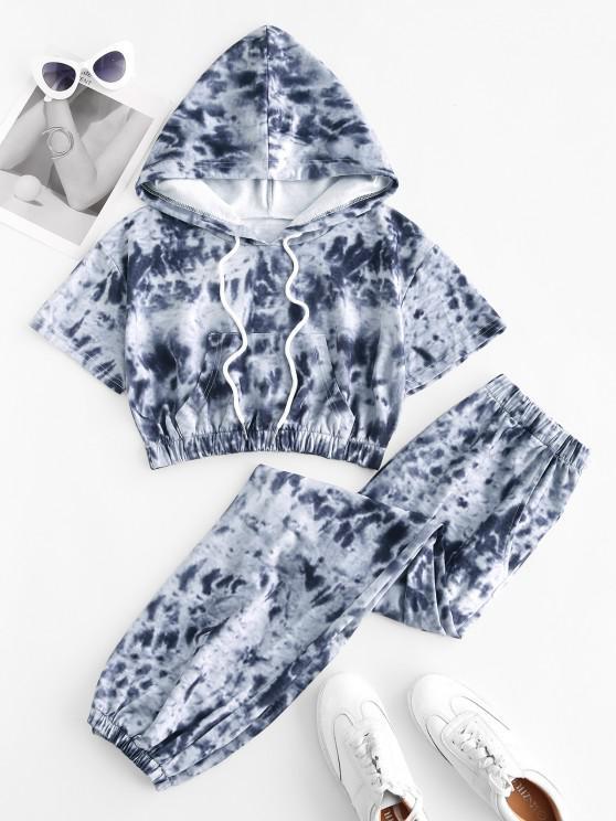 sale Tie Dye Sports Hooded Pocket Joggers Set - LIGHT GRAY XL