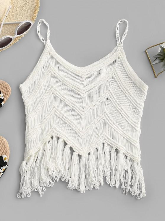 online Fringed Crochet Beach Top - WHITE ONE SIZE