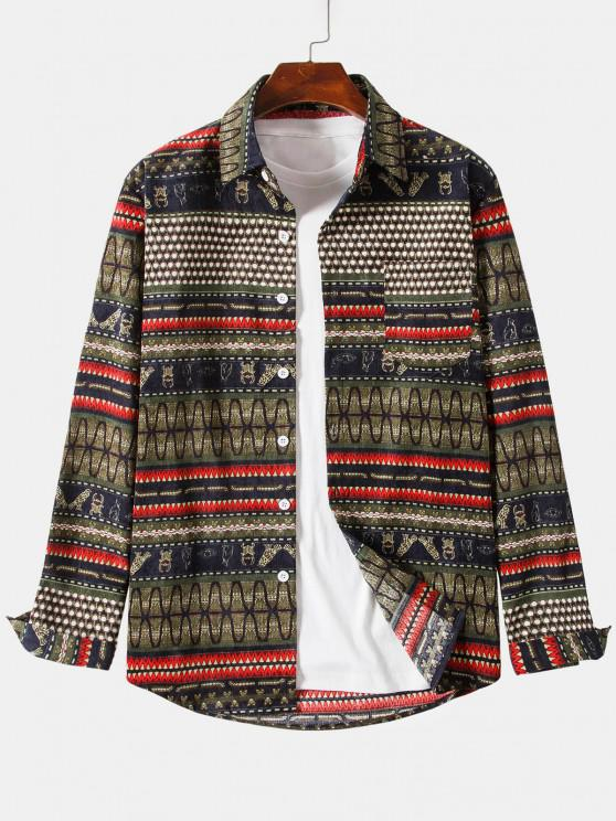 sale Ethnic Seamless Striped Pattern Button Up Corduroy Shirt - BROWN 4XL